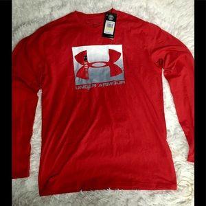 Under Armour Red Men's Long Sleeve Shirt sz Med